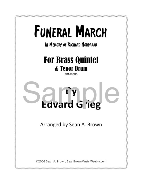 Funeral March in Memory of Richard Nordraak, Arr  for Brass